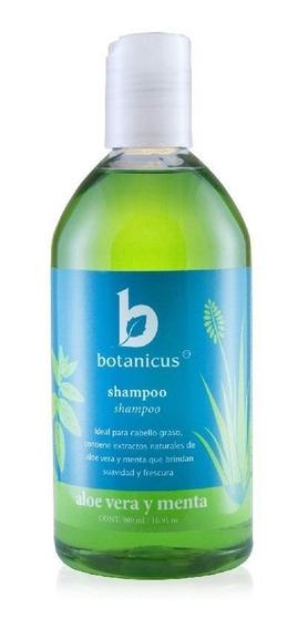 Shampoo Orgánico Para Cabello Seco, Con Puntas Abiertas Y Anti Caída Aloe Vera Y Menta