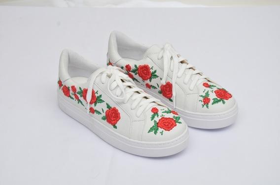 Tênis Couro Legitimo Floater Branco Floral 001