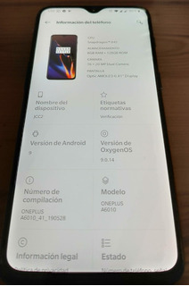 Telefono Oneplus 6t, Dual Sim Black Mirror 8gb De Ram,128gb.