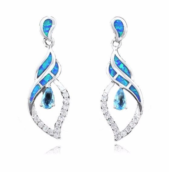 Brinco Gota Opala Azul Zircônia Fashion Importado