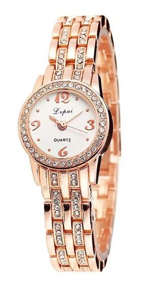 Relógio Feminino De Pulso Frete Grátis Pequeno Dourado