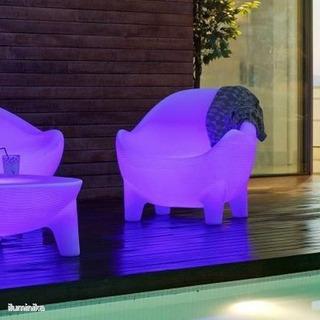 Sillón Lounge Aruba Para Exterior Led Colores Solar