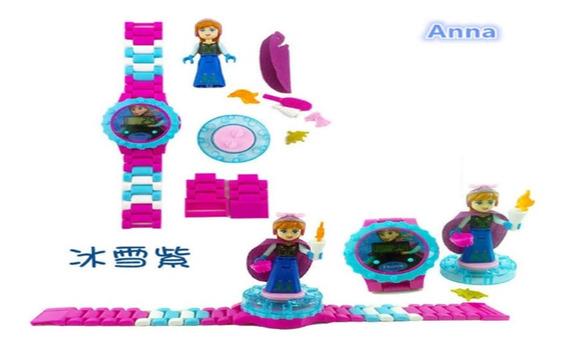 Reloj Frozen Anna Tipo Lego Con Mini Figura Sin Caja/empaque