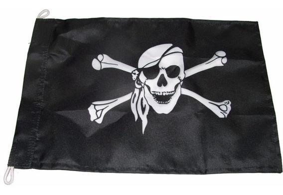 Bandeira De Pirata Uso Barcos Lanchas Antenas Mastro 23x32cm