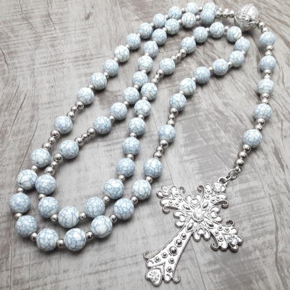 Terço Rosário Católico Longo - Noiva - Cinza(artesanal)