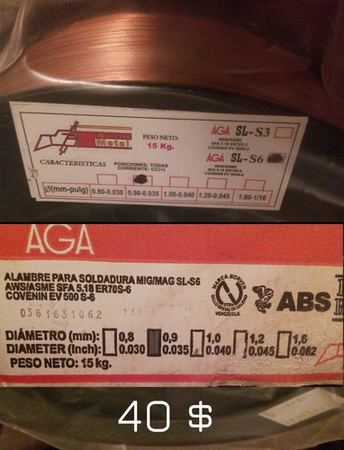 Alambre Mig Mag 0,9 Sl-s6 Er 70s6 Marca Aga X Kg