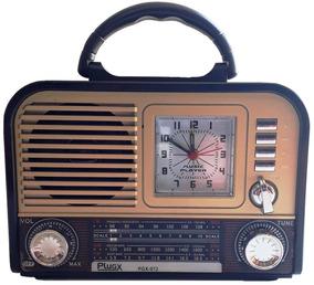 Rádio Relógio Retrô Vintage Aux Usb Pendrive Cartão Am Fm Sw