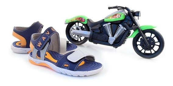 Sandália Infantil Menino Kidy Wave Com Moto Marinho/cinza