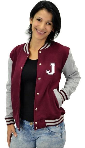 Jaqueta College Feminina Universitária Americana - Letra J