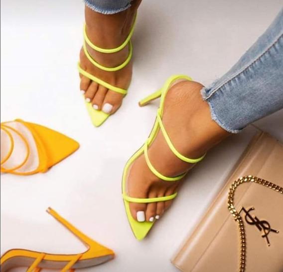 Sandalia Salto Fino Alto Confortavel 10cm Neon