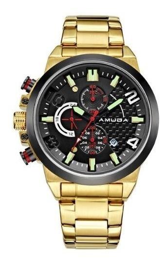 Relógio Luxo Amuda Dourado E Prata Quartz Canhoto Masculino