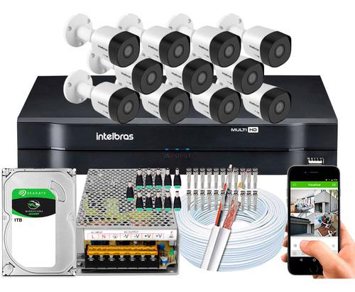 Kit Cftv Intelbras 11 Cameras 3230b 1080p 30mts 2m Dvr 16 Ch