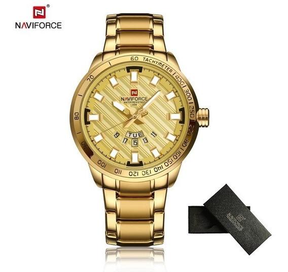Relógio Naviforce Social Masculino Original Dourado Comcaixa