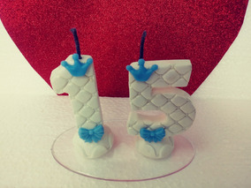 Topo Vela Biscuit 15 Anos Debutante Topinho #branco/ Azul