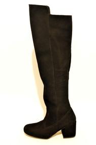 Bota Bucanera Mujer,alta Con Taco, Gamuza,moda 2019,1505gr