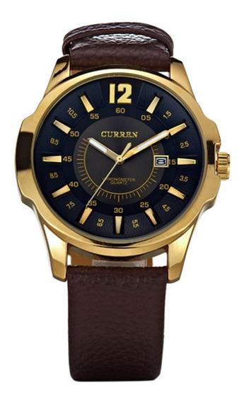 Relógio Masculino Importado Curren Preto E Dourado