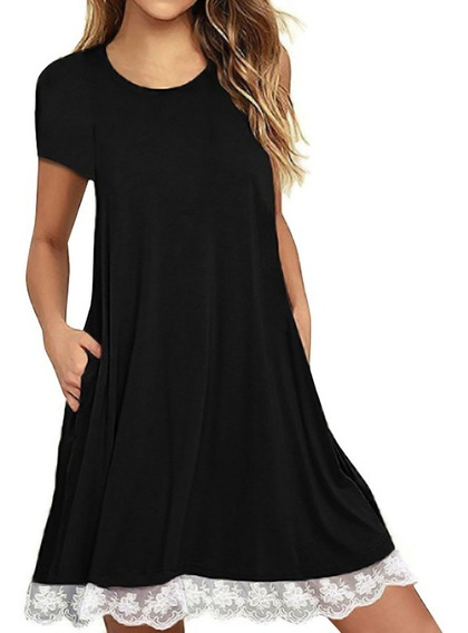 Moda Feminina Casual Solta Mini Vestido De Renda Hem Algod?o