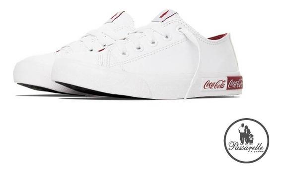 Tênis Feminino Coca Cola Casual Basket Blend Logo - Branco