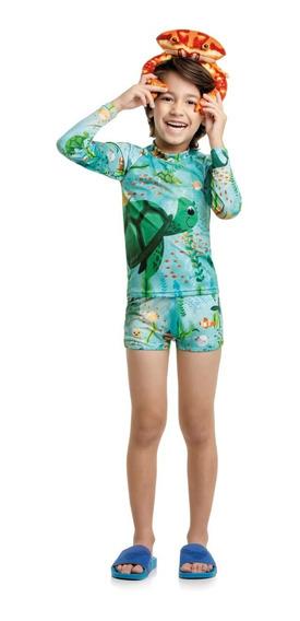 Camisa Infantil Unissex Proteção Solar Uv+50 Moda Praia