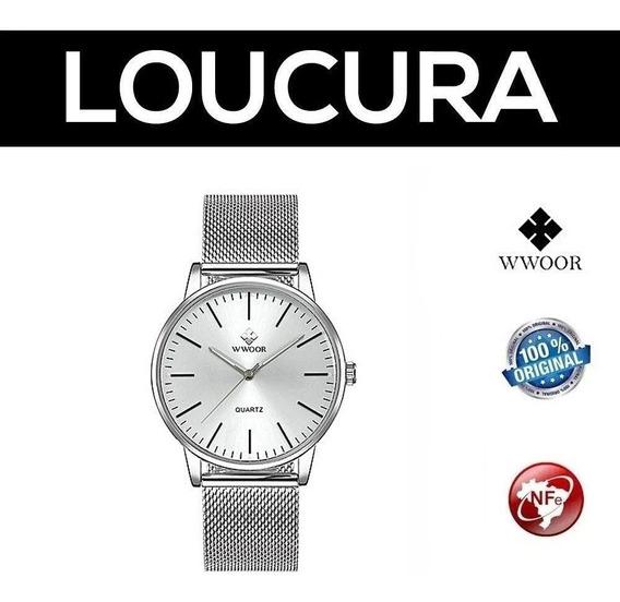 Relógio Masculino Social Luxo Wwoor Pulseira Aço Inox Cores