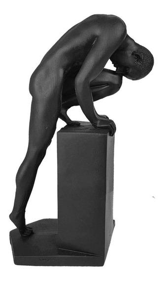 Estatueta Homem Em Pé Nu Resina Decorativo Enfeite Decoração Arte Moderna Escultura