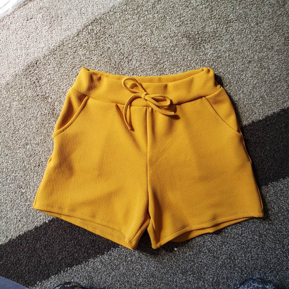 Short Curto Cintura Alta Malha Crepe Tecido 2019 Feminino