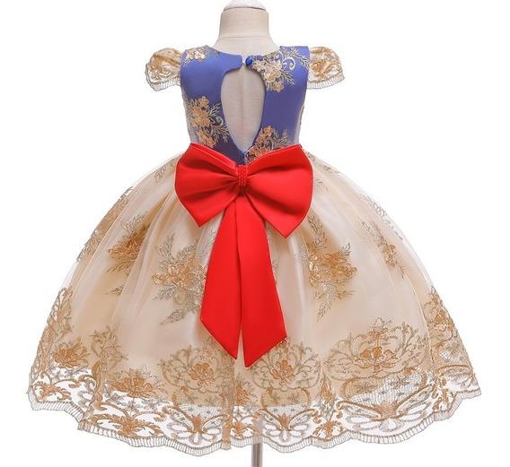 Vestido Fiesta Niña Elegante Estilo Blanca Nieves Tul Dorado