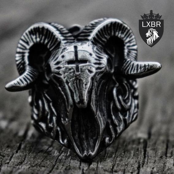 Anel Lançamento Aço Inox Bode Viking Caveira Lucifer Diabo Maçonaria Punk Moto Cruz Metal Masculino Grande Lxbr A196