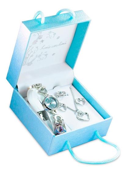 Set De Joyas Reloj+collar+aretes+anillo Modelo Celeste