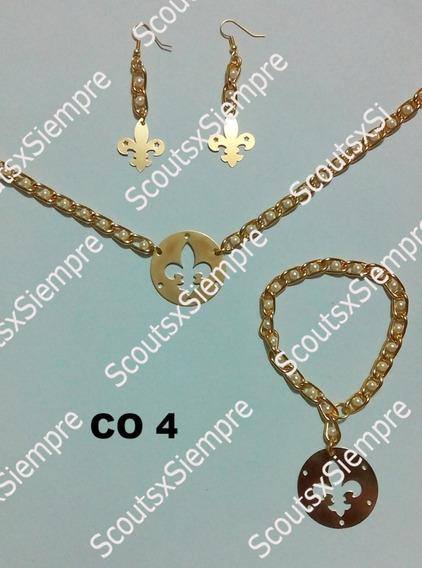 Conjunto Collar, Aretes Y Pulsera Flor De Lis Scoutsxsiempre