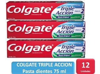 Pack 12 Pasta Dientes Colgate Triple Acción