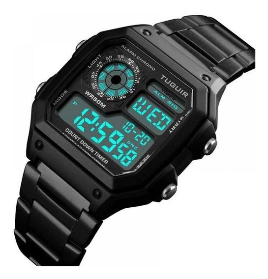 Relógio Masculino Retro Tuguir Original Digital Aço Inox Esportivo Militar