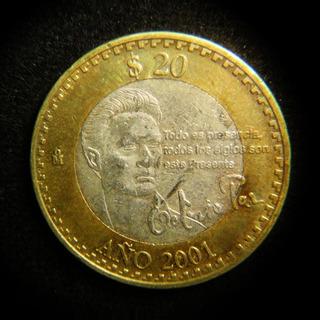 Moneda 20 Pesos 2001 Octavio Paz Bimetalica