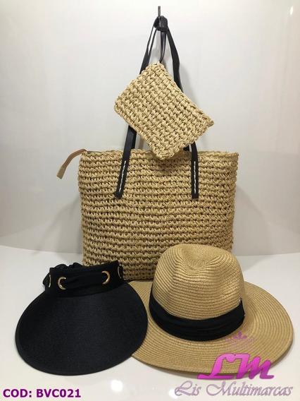 Kit Bolsa De Praia + Chapéu Floppy + Viseira - Bege Escuro