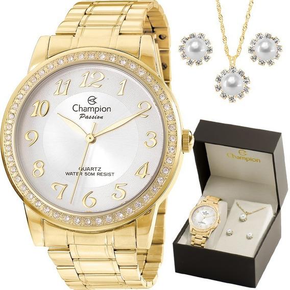 Kit Relógio Champion Feminino Dourado Cn29463b Com Semi Joia