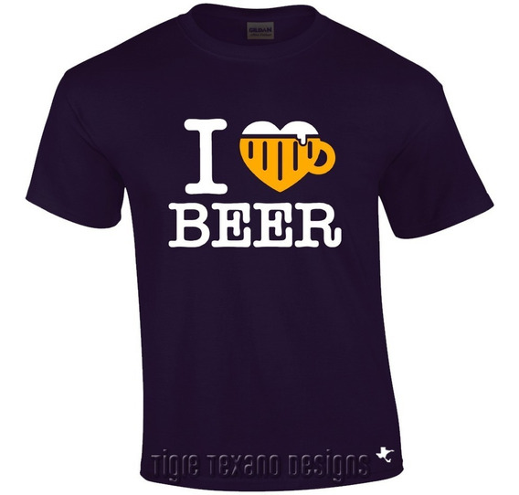 Playera Fun I Love Beer Amo Cerveza By Tigre Texano Designs