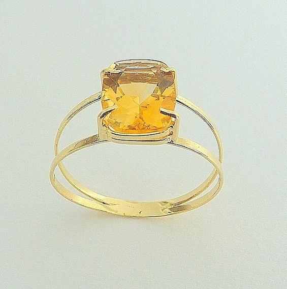 Anel De Ouro 18k Com Citrino Natural 1801