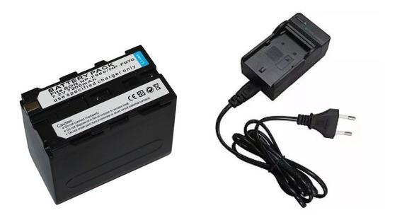Bateria Np F750 E Carregador Para Iluminadores Led E Ring
