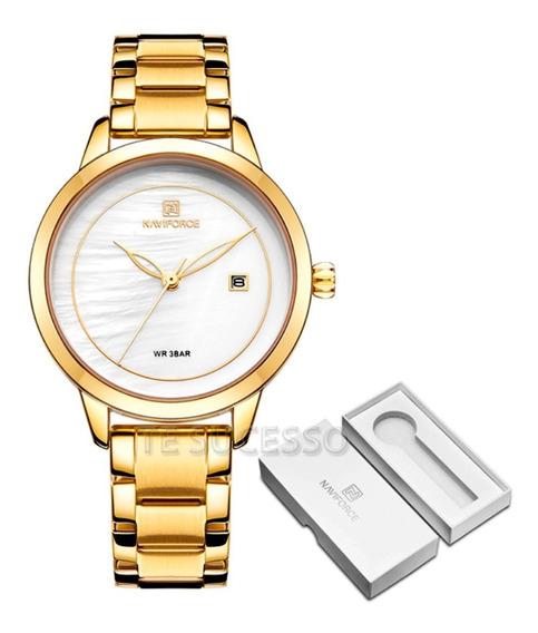 Relógio Feminino A Prova D`agua Dourado Casual Frete Grátis