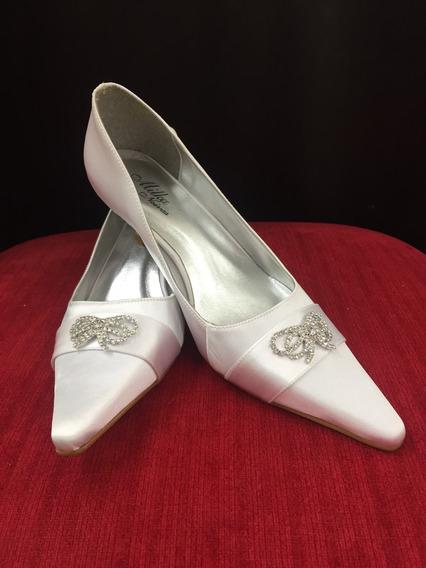 Sapato Noiva Nº33- Salto Scarpin Cetim C/ Brilho Branco