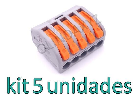 5 Conector Tipo Wago Borne Emenda 5 Fios - Modelo 222-415