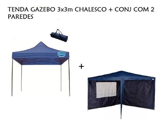 Tenda Gazebo Praia Articulado 3x3m Chalesco + Conj 2 Paredes