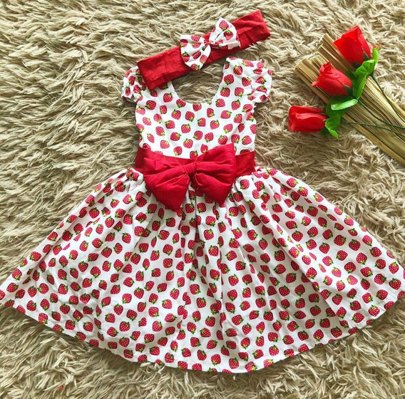 Vestido Infantil Moranguinho Baby Festa Tiara Laço Luxo