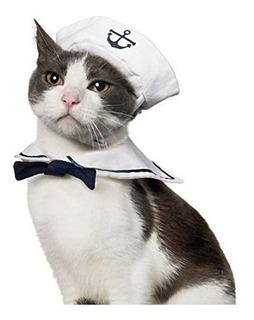 Disfraz De Marinero Para Gato Con Sombrero Y Corbatín-