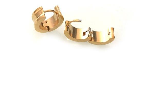 Brinco Par Argola 6mm Masculino E Feminino Aço Folheado Ouro