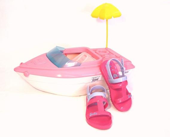 Sandália Barbie Infantil Para Meninas Com Barco Iate Rosa