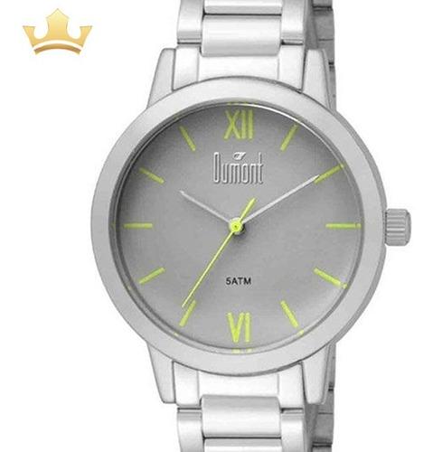 Relógio Dumont Feminino Analógico Prata Original + Nf