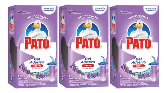 3 Refil Gel Adesivo Sanitário Pato Lavanda 38g Com 6 Discos
