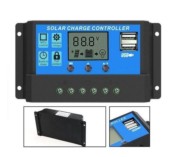 Controlador De Carga Solar 10 Amperes Pwm Usb 12/24v