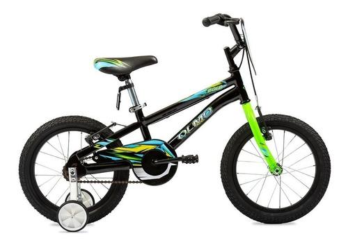 Imagen 1 de 2 de Bicicleta infantil Olmo Infantiles Bold R16 frenos v-brakes color negro/verde con ruedas de entrenamiento